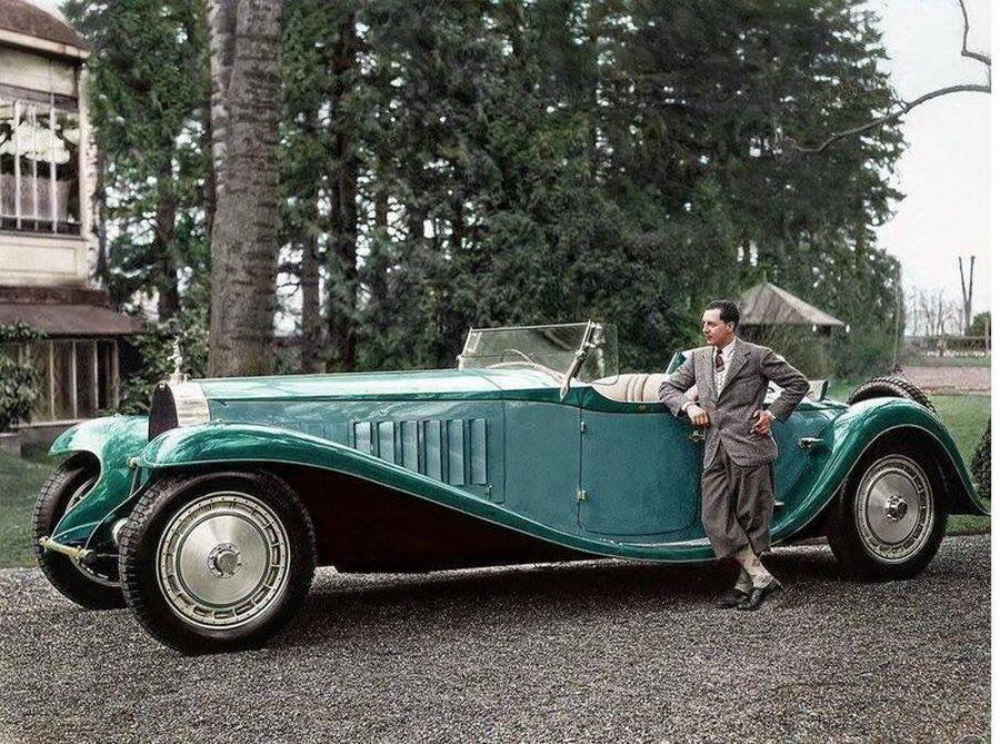 Жан Бугатти рядом с Bugatti Royale «Esders», 1932 год, Франция